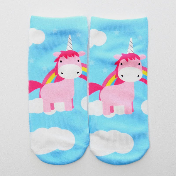 3 Pairs Girl's 3D Printed Unicorn Ankle Socks for Children  Ages 7-12
