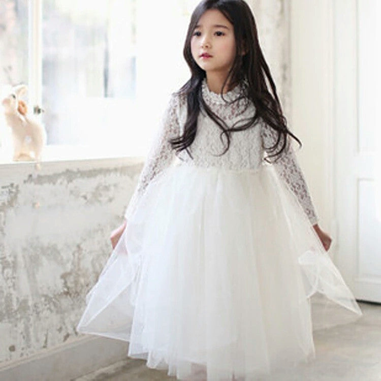 White Long sleeve Rhinestone Dress w/Sash