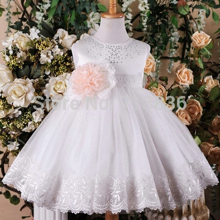 White Sleeveless Rhinestone Dress w/Sash