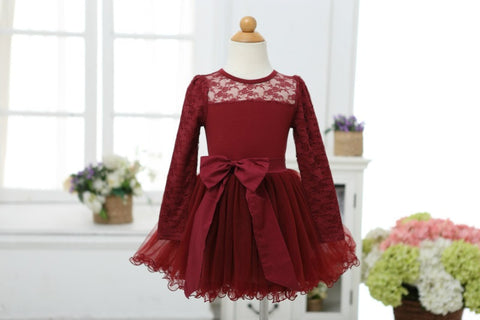 Maroon Lace Holiday Dress