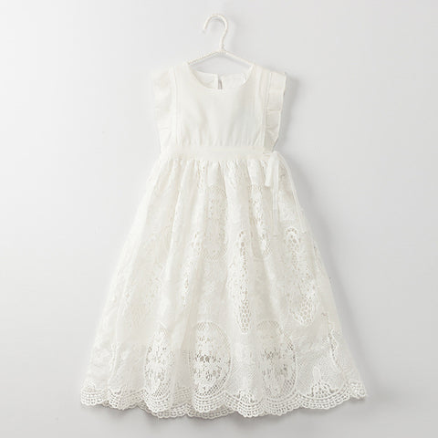 White Tea Length Eyelet Dress