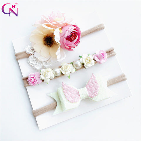 Artificia Flowers Skinny Nylon Headbands For Kids Girls Handmade Plain Unicorn Hair Bows Hairbands With Elastic Hair Accessories