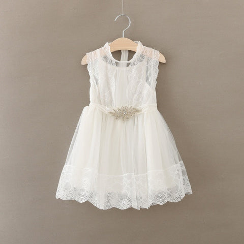 Vintage White Lace Dress w/rhinestone Belt