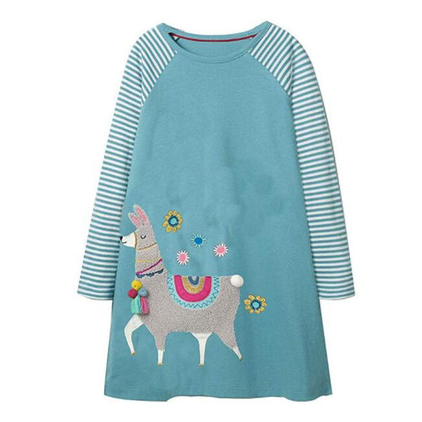 Baby Girls Unicorn Dress Long Sleeve Children Princess Dress Animal Applique Christmas Costume for Kids Dresses Girl Clothes 1