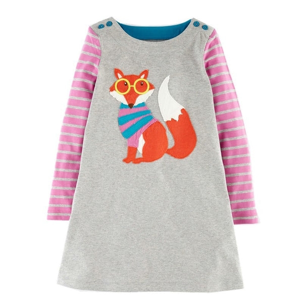 Baby Girls Unicorn Party Dresses A-Line Costumes for Kids Autumn Clothes Animal Appliques Princess Dress Children Tunic Jersey
