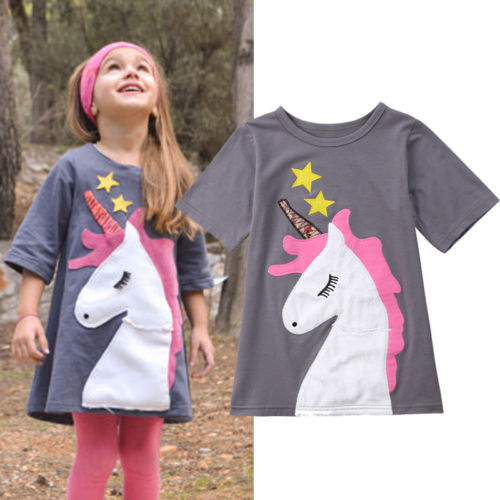 Casual Cotton Kids Baby Girls Dress Unicorn Party Dresses Vestidos Toddler Girls Clothing