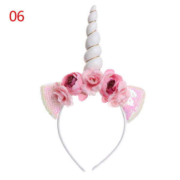 Child Cat Ear Headband Tiara Glitter Metallic Rainbow Bowknot Headband Unicorn Horn with Flowers Hair Hoop Party Gift For kids