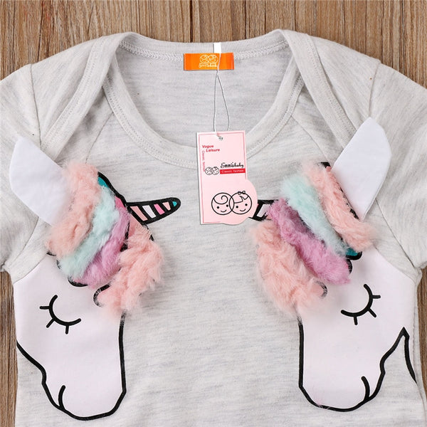 Cute Baby Girls 3D Cartoon Unicorn Romper Newborn Girls Short Sleeve Romper 2018 New Bebes Cotton Jumpsuit Summer Baby Clothing