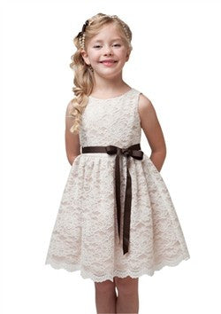 Ivory Lace Dress w/brown belt