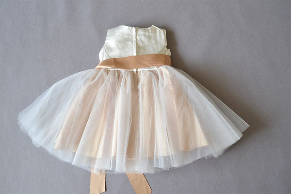 Gold Champage Cream Tulle Holiday Dress