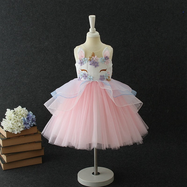 Fancy Kids Unicorn Tulle Dress for Girls Embroidery Ball Gown Baby Flower Girl Princess Dresses Wedding Party Costumes Unicornio