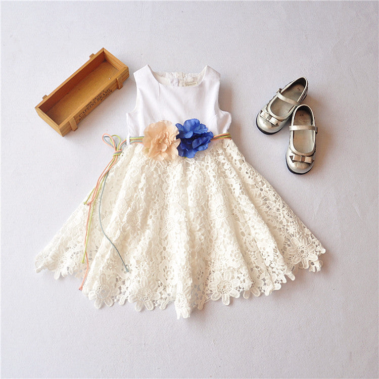 Ivory Cream Sleeveless Dress w/sash
