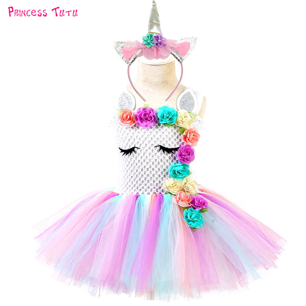 Halloween Unicorn Tutu Dress Toddler Girls Flower Unicorn Birthday Party Dresses Kids Christmas Thanksgiving Costume Clothes