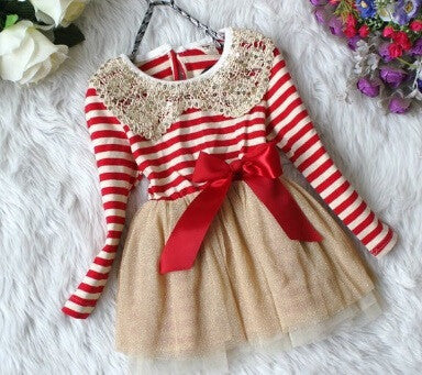 Red & Ivory Striped Christmas Dress Holiday Dress w/gold collar