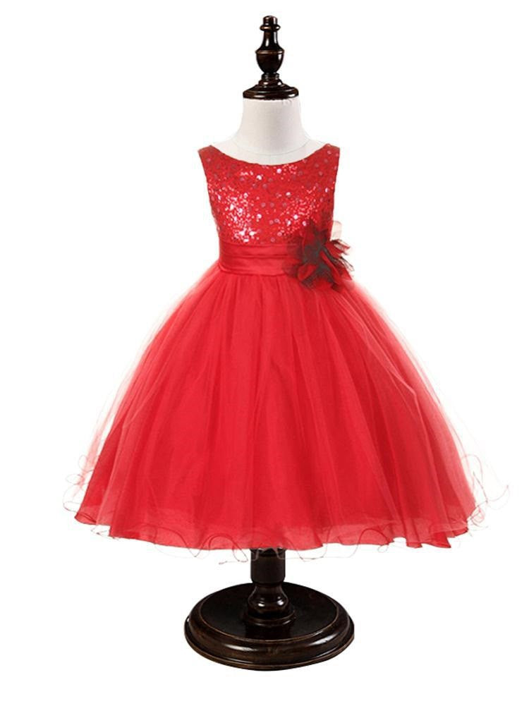 Red Sequined Bodice Dress w/mesh overlay