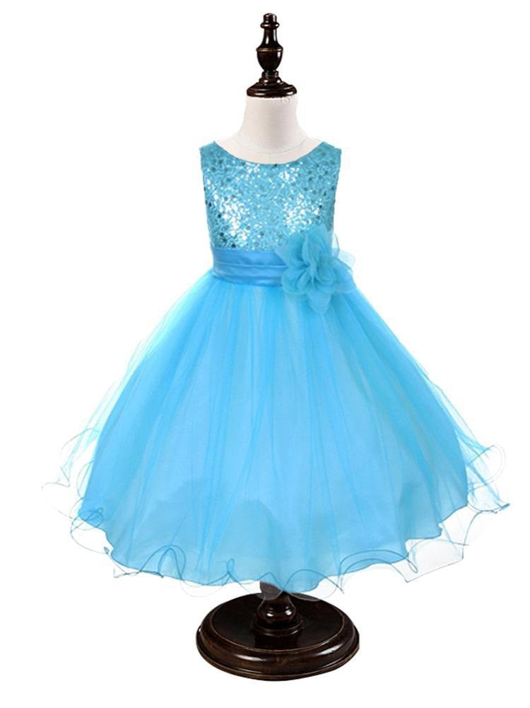 Turquoise Blue Sequined Bodice Dress w/mesh overlay