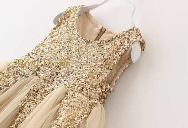 Gold Sequins & Cream Tulle Holiday Dress