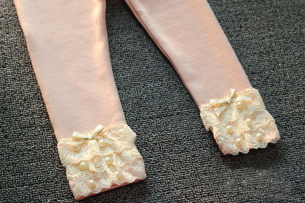 Ivory/Pink/Blue Lace & Pearl Leggings