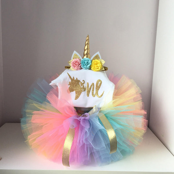It's My Baby Girl Clothes Rainbow Fairy Tutu Fluffy Summer Unicorn Party Tops with Headband Toddler Unicorn Dress for Halloween