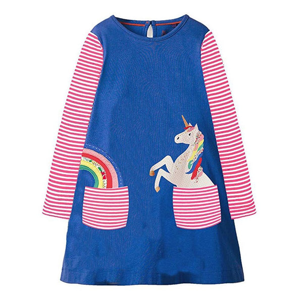 Kidsalon Baby Girls Clothes Vestiods Unicorn Applique Christmas Dress Girl Party Dress Robe Princess Dress for Children Clothing 1