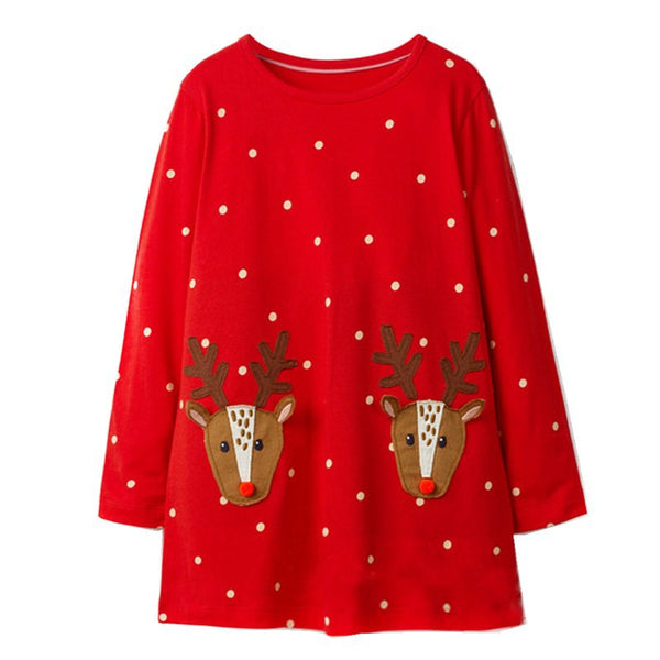 Long Sleeve Unicorn Dress Baby Girls Clothes 2018 Brand Winter Kids Dresses for Girls Animal Applique Princess Dress Christmas
