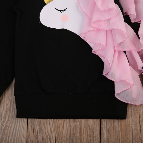 New Newborn Baby Girls Long Sleeve Cute Unicorn Sweet Ruffle Tops Sweater Spring Autumn Warm Clothes