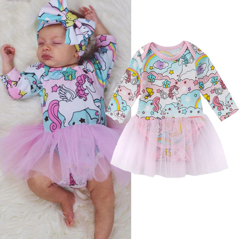 Newborn Kid Girls Clothes Unicorn Romper Dress Jumpsuit Tutu Dress Long Sleeve Sunsuit Clothes