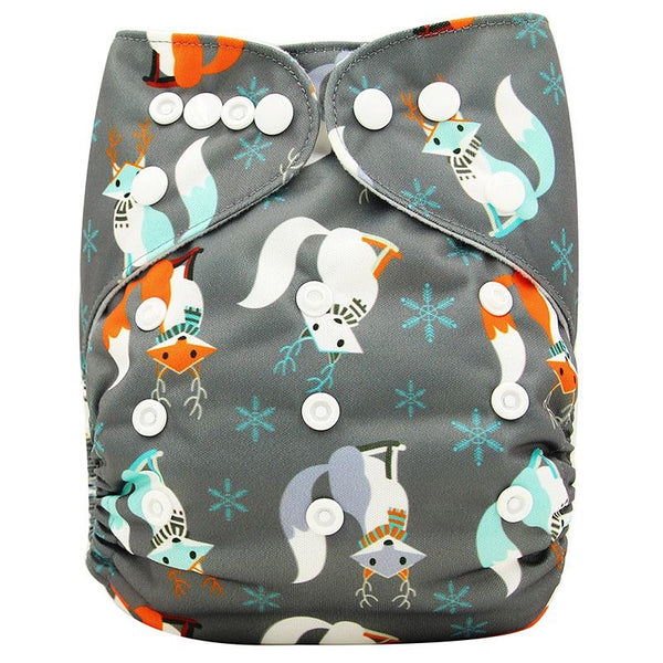 Ohbabyka Baby Diapers Reusable Nappies Changing Christmas Unicorn Print Newborn Cloth Diaper Washable Pocket Diaper Cover