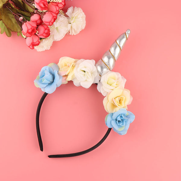 Rainbow Unicorn Horn Hairband Kids Chiffon Unicorn Headband Glitter Hairband Easter Bonus for Party Gift Hair Accessories