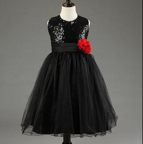 Black Sequined Bodice Dress w/mesh overlay and red rose applique