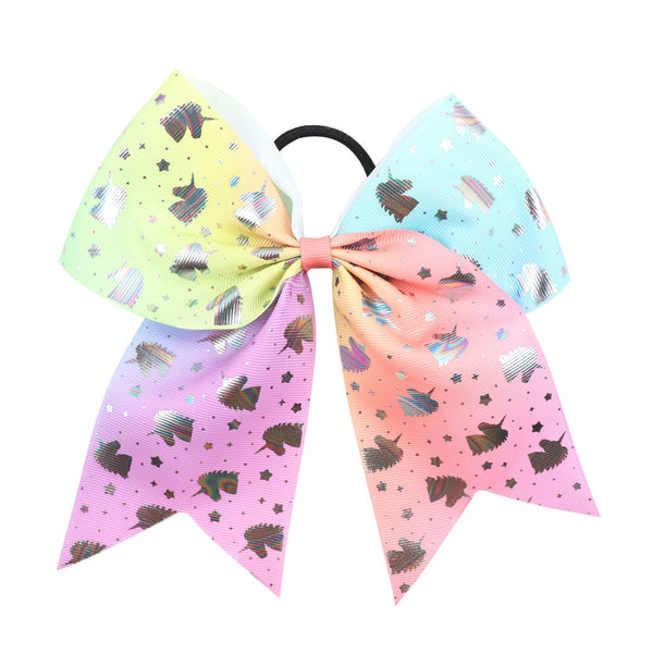 Sequin Unicorn Cheer Bows With Rubber Band For Girls Kids Large Glitter Heart Ponytail Hair Bows Holder Hair Accessories