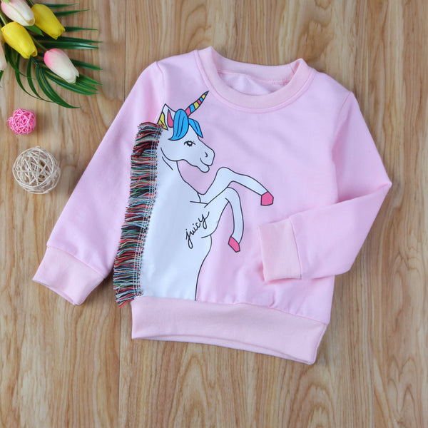 Unicorn Toddler Kids Girls Jacket Pullover Casual Warm Sweatshirt Clothes Tops Children Clothing 1-7Y