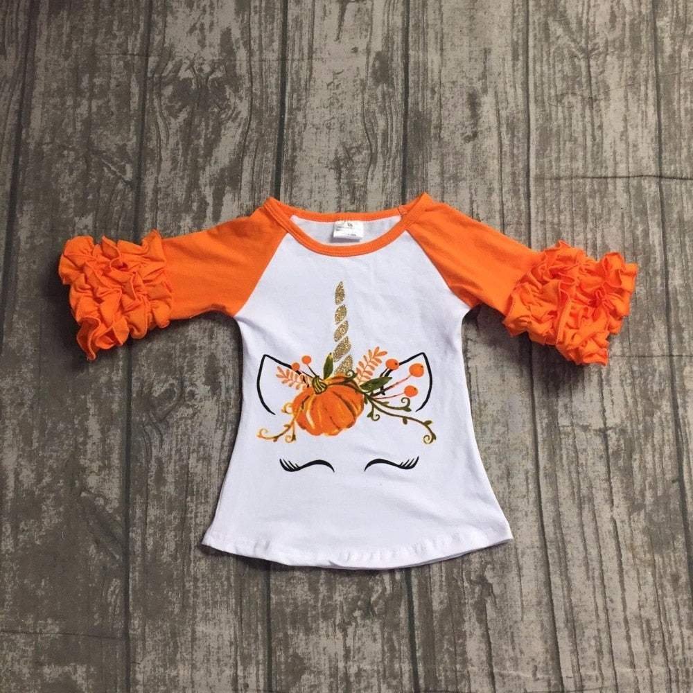 children Halloween raglans children girls pumpkin unicorn raglans baby girls orange ruffle sleeve unicorn raglans top shirts