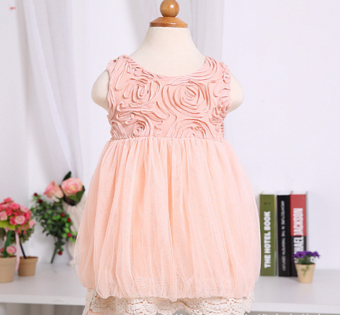 Pink Lace Rosette Dress