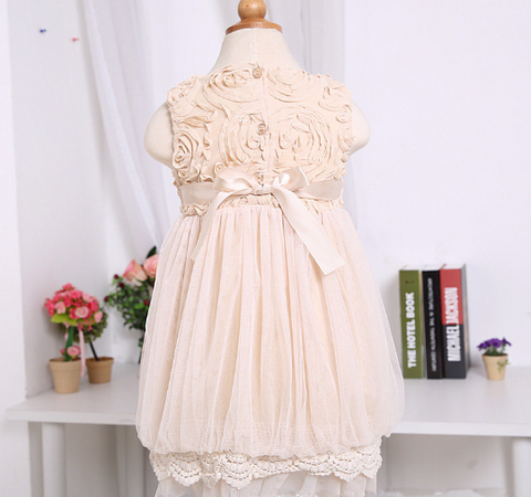Ivory Lace Rosette Dress Holiday Dress Christmas Dress Flower Girl Dress