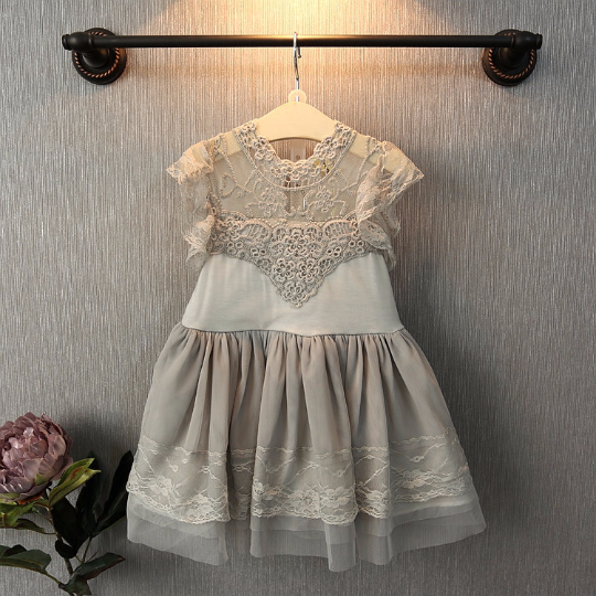 Grey & White Vintage Lace Dress