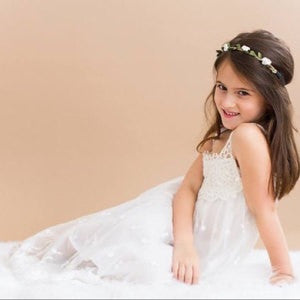 Ivory Flower Girl Dress Long White Maxi Dress