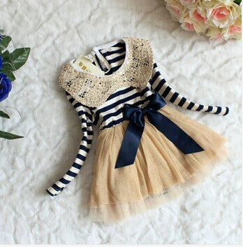 Blue & Ivory Striped Christmas Dress Holiday Dress w/gold collar