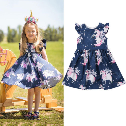 new fashion  Infant Kid Girl dress  floral Unicorn printed Casual Dresses One-Piece Costume a-line dress