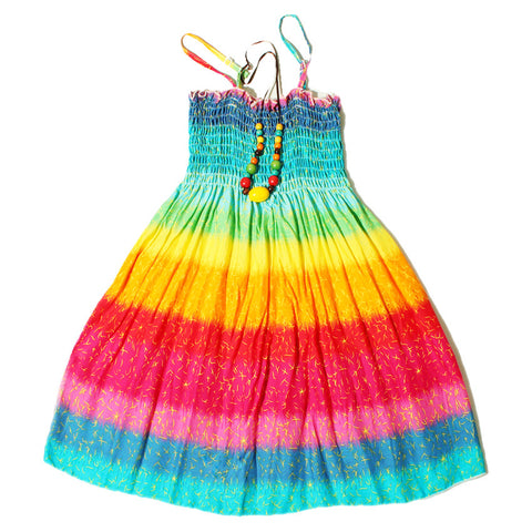 Rainbow Summer Beach Dress w/Free Necklace
