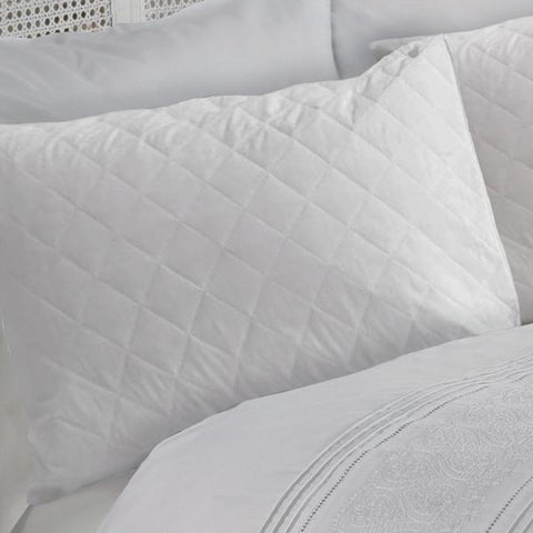 100% Microfibre Soft Quilted Pillow Protector Pair, White