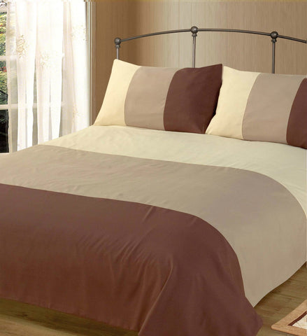 DUVET COVER & PILLOW CASE BED SET, 3 TONE BLACK or BROWN
