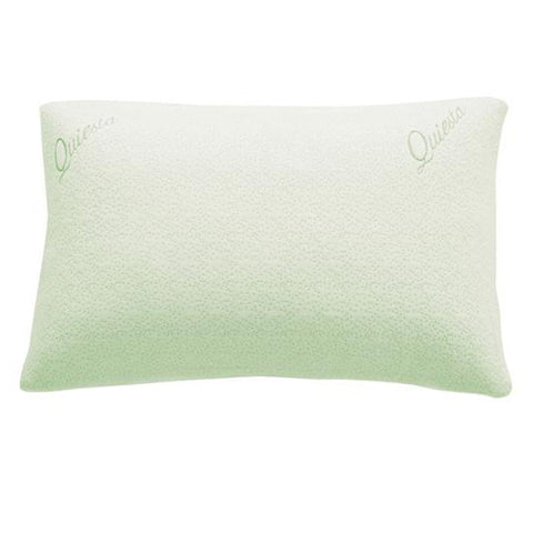 Green QUIESTA SHREDDED MEMORY FOAM PILLOW, BAMBOO MEMORY FLAKES, BEST PILLOW FOR STIFF NECK.