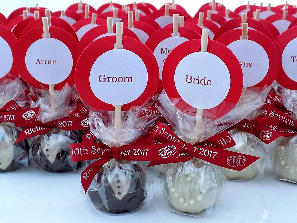 Homemade Brownie Pops, Wedding Favours/Name-tags