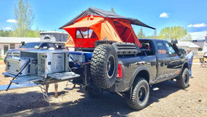 overlanding gear on 4x4 dodge ram at overland expo west