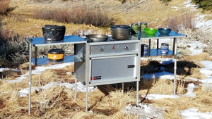 camping cooking station with propane stove