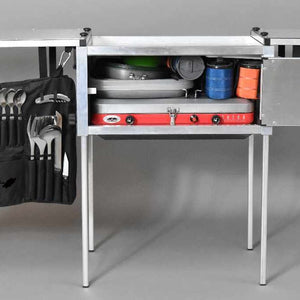camping kitchen gear storage inside of trail kitchens camp kitchen box