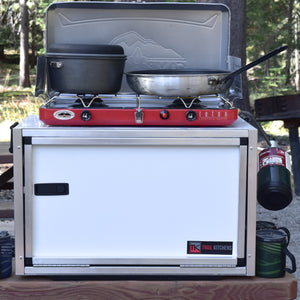 chuck box with camping stove