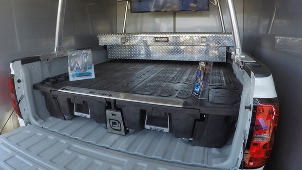 decked truck bed storage system for tools and overland gear