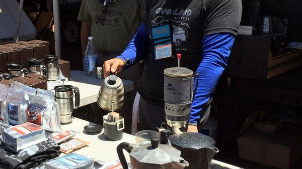 overland coffee company pour over single service coffee pouches at overland expo